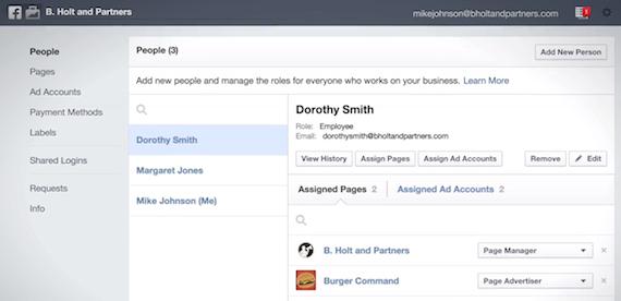 A Business Manager fiók felhasználó kezelő felülete: egy helyen tudjuk az összes kolléga hozzáfárését egyszerűen kezelni