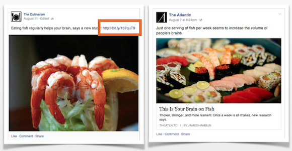 Linkek a Facebookon: bal oldalon egy kép leírásában, jobb oldalon a szabályos link bejegyzés formátumban. Ezt jobban szereti a Facebook.