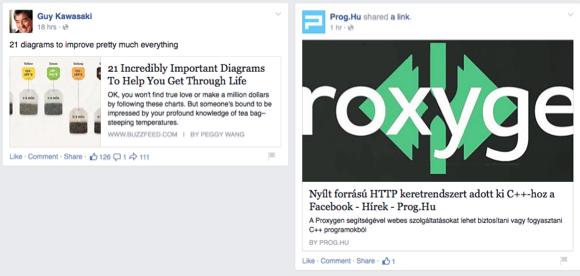A link bejegyzésnél fontos a kép méret és a kép arány. A bal oldali linken kicsi képet húzott be a FAacebook, a jobb oldalinál nem olvasható a teljes szöveg (Proxygen) a rossz arány miatt.