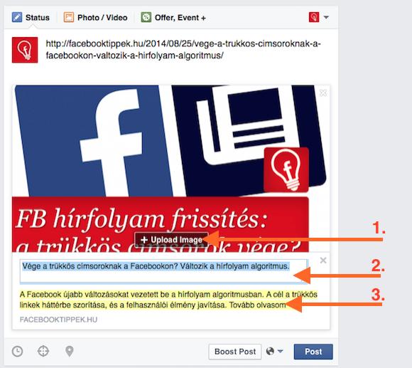Ezeket érdemes módosítani egy link bejegyzésnél, ha nem jók: 1.: kép csere 2.: címsor megváltoztatása 3.: leírás