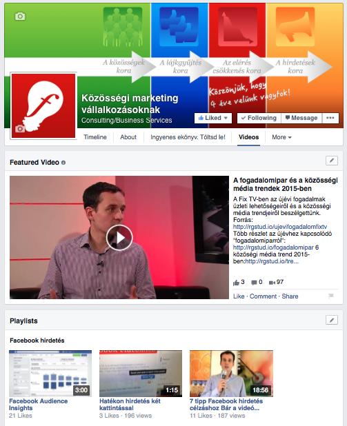 Az új Facebook videó oldal. Kicsit mintha emlékeztetne a YouTube csatorna megjelenésére...