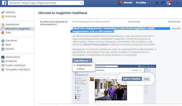 Megjelölés engedélyezése a Facebook beállításainál