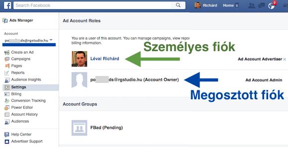 Hirdetéskezelő / beállítások: a kékkel jelölt egy megosztott profil. E-mail cím és profilkép is mutatja. De gyanús lehet, ha a fiók nevénél is e-mail címet látsz.