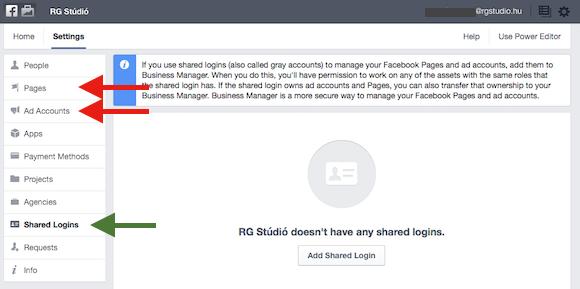 Egy külön menüpontban lehet hozzáadni a Vállalkozáskezelőhöz a teljes Megosztott profilt. (kék nyíl) De az egyes oldalakat és hirdetési fiókokat egyesével is hozzáadhatod. Ilyenkor nem csak hozzáférést érdemes kérni, hanem a tulajdonjogot is érdemes átadni. (piros nyíl)