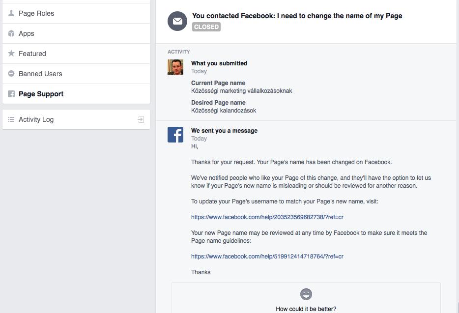 Visszaigazoló levél Facebook oldal név változtatás után. ... csak mosolygós értékelést tudtam adni ezek után.