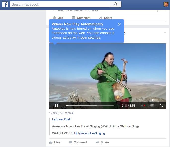 A Facebook figyelmeztet, hogy mostantól weben is lesznek automatikusan induló videók.
