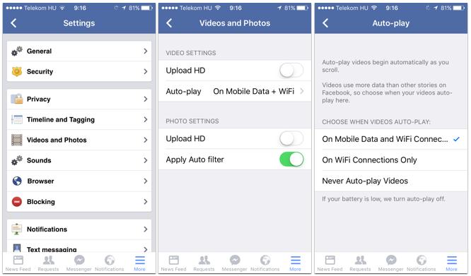 A mobil alkalmazásban külön tudjuk szabályozni az autoplay videókat, ráadásul itt az adatkapcsolattól is függővé tehetjük.