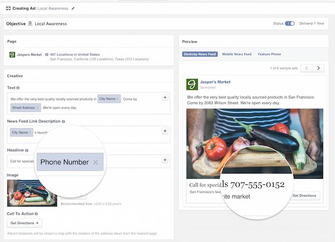 Helyi érdeklődés hirdetés több telephelyes cégnél: változóként lehet a hirdetésbe megadni az egyes telephelyekre vonatkozó adatokat.