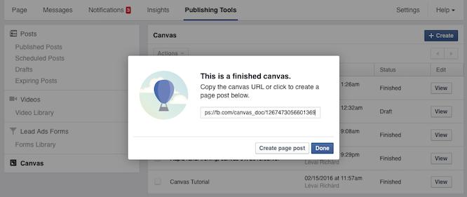 A Publisher Tools menüben találjuk a canvasokat. Ha valamelyikre rákattintunk, akkor le tudjuk generálni az organikus posztot.