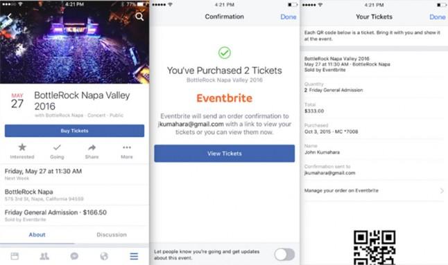 Jegyvásárlás az Eventbrite-tól a Facebook segítségével