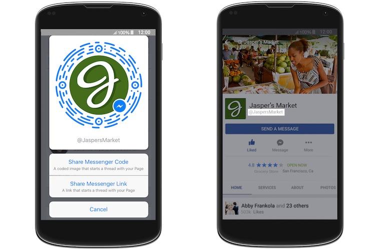 Bal oldalon a Messenger kód, jobb oldalon a felhasználói név megjelenítése (az új mobil oldalon)