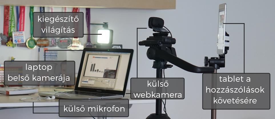 """A """"stúdió"""": a laptopom, amin futott az OBS. Ennek a belső kameráját is használtam. Egy külső webkamera, ami természetesebb képet ad. Egy kiegészítő világítás, ami akkor kellett, amikor a laptop felé fordultam. Az elmaradhatatlan külső mikrofon, és egy tablet, amin futottak a kommentek. Ez egyébként nem ugyanazt a hálózatot használta, amin a stream ment."""