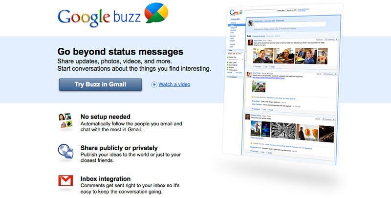 Egy korábbi Google próbálkozás a közösségi médiában a Buzz