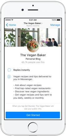 Így is kinézhet hamarosan a Messenger bot üdvözlő képernyője
