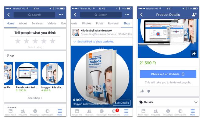 Facebook bolt három lépése mobilon: a nyitó kép, termék a bolt szekcióban, és termék részletek.