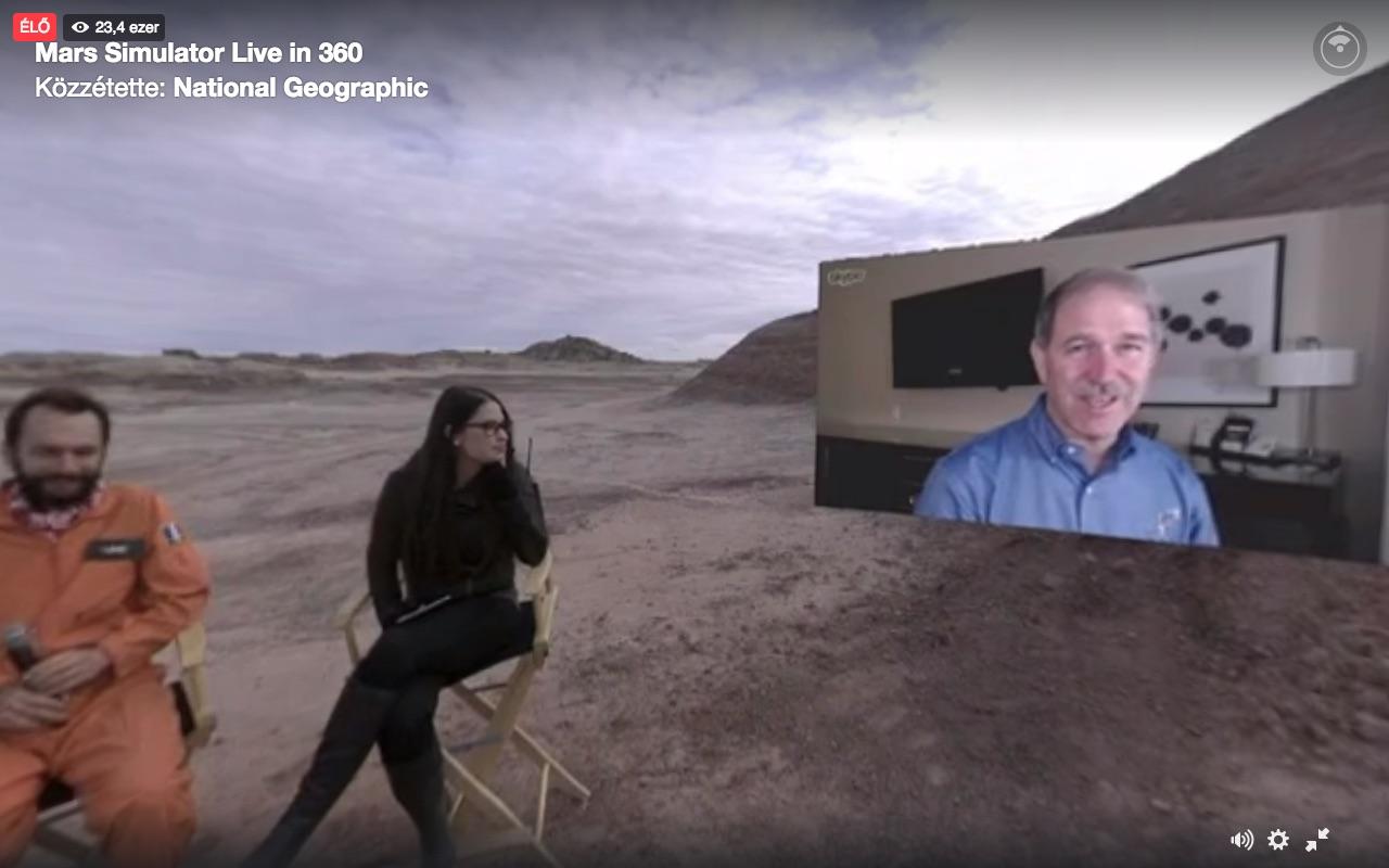 Többszörösen virtuális beszélgetés Facebook Live-ban, gömbpanorámában: mi nézzük távolról, ahogy egy távoli helyszínre Skype-on keresztük kapcsolnak be virtuális beszélgetőpartnereket.