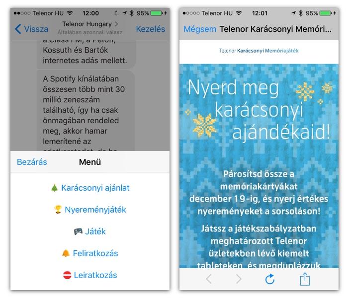 Bal oldalon a Messenger bot menüje. Ha a Nyereményjátékra kattintunk, megnyílik egy webview, ami behozza a játék weboldalát. A megjelenés integrálódik a Messengerbe.