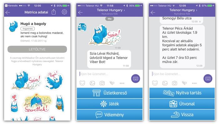 A Viberen matricacsomagot és chatbotot is használ a Telenor. Az üzletkeresővel meg tudjuk osztani a tartózkodási helyünket, ami alapján feldobja a legközelebbi üzletet. Itt bizonyos esetekben még az is megjelenik, mennyien várakoznak éppen.