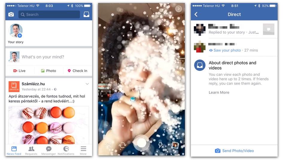 Bal oldalon az új felület: fent a fényképező ikon, ami a kamerához vezet. Ezt a képernyő jobbra húzásával is elérhetjük. Középen csak egy illusztráció az új effektekből (nem én vagyok a képen). Jobbra a direkt üzenet felület, amit a főképernyő balra húzásával is elérhetünk.