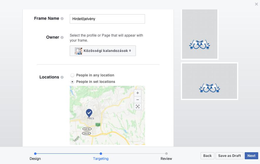 Meg kell adnunk, melyik Facebook oldalhoz tartozik, földrajzi korlátot adhatunk, és időben is korlátozhatjuk a használatot.