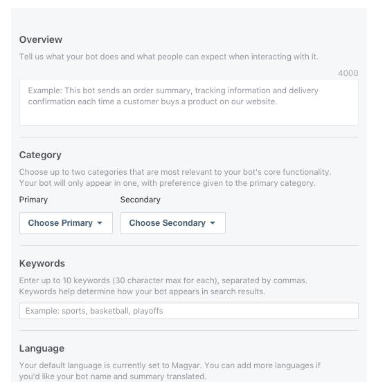 Néhány információs mező a Messenger botunkhoz. A cél: többen fedezzék fel, elsősorban a célcsoportunkból.