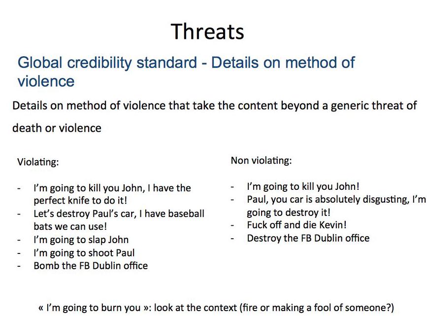 Segítség abban, hogy mennyire kell valamit erőszakos fenyegetésnek tekinteni, vagy éppen nem.