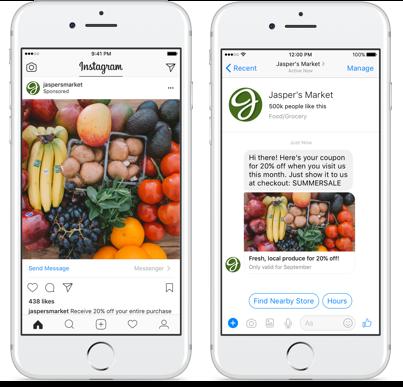Messenger hirdetés Instagramon: a kép alatti sávra kattintva Messengerbe érkezik az ember, ahol lehet vele folytatni a beszélgetés, például egy chatbot segítségével