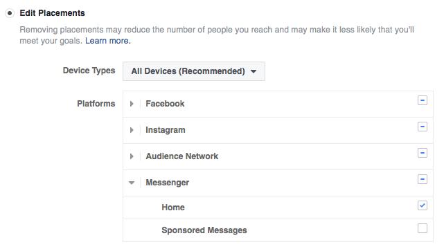 Messenger Kezdőlapi hirdetés létrehozása: ki kell választani a Messenger Home elhelyezést, vagy hagyni, hogy a Facebook maga válasszon
