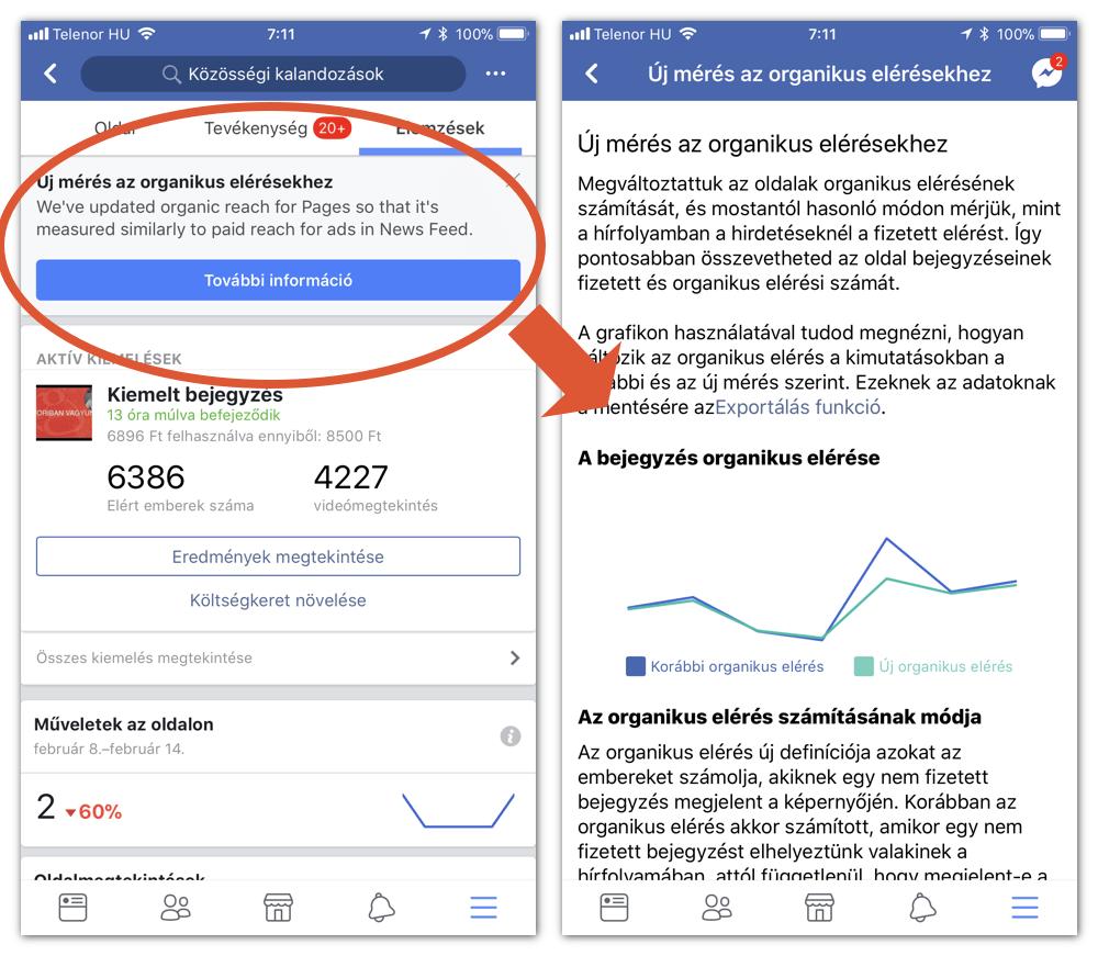 Változik az organikus elérés számítása: bal oldalon a figyelmeztető, jobb oldalon a segítség az értelmezéshez