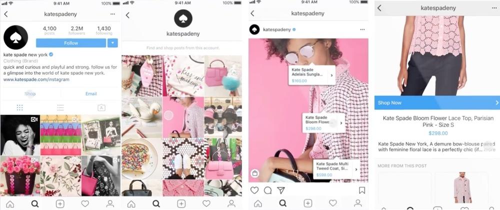 Az Instagram shop különböző fázisai.
