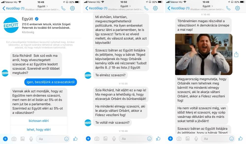 Az Együtt chatbotja, aminek alap funkciója nem volt túl kifinomult, de jól használták arra, hogy még a választás napján is elérják az embereket.