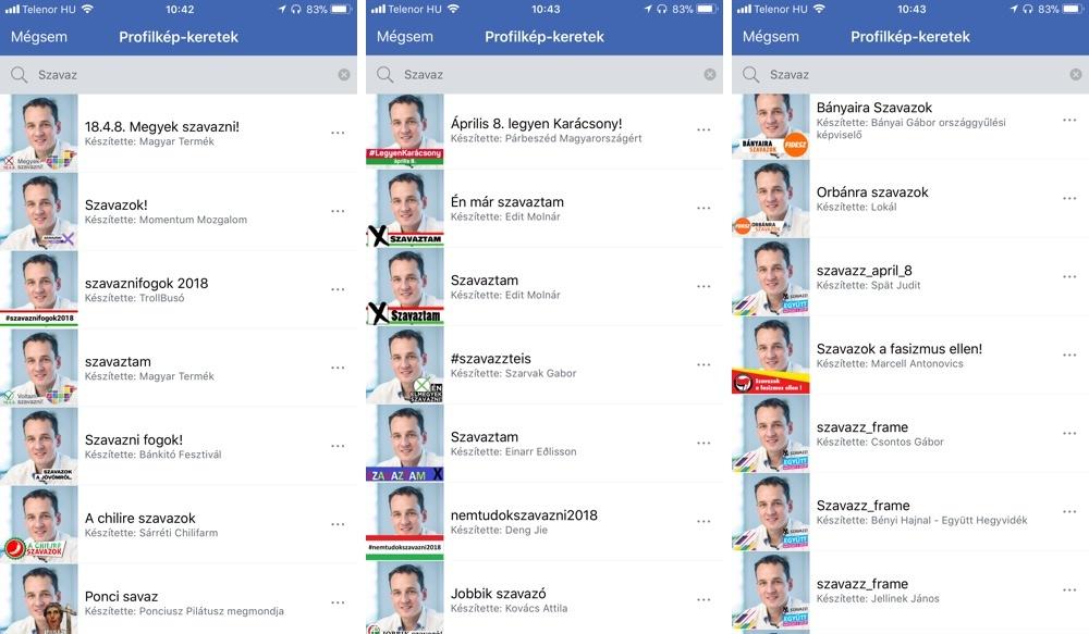 Szinte minden párt készített profilkép keretet, rajtuk kívül több civilszervezet is. Sajnos ezek legtöbbje a Facebook kamerában nem működött jól.