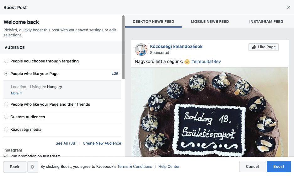 """Az """"instagram boost"""" posztnál hasonló bállítási lehetőségeink vannak, mint a Facebook bejegyzés kiemelésnél"""