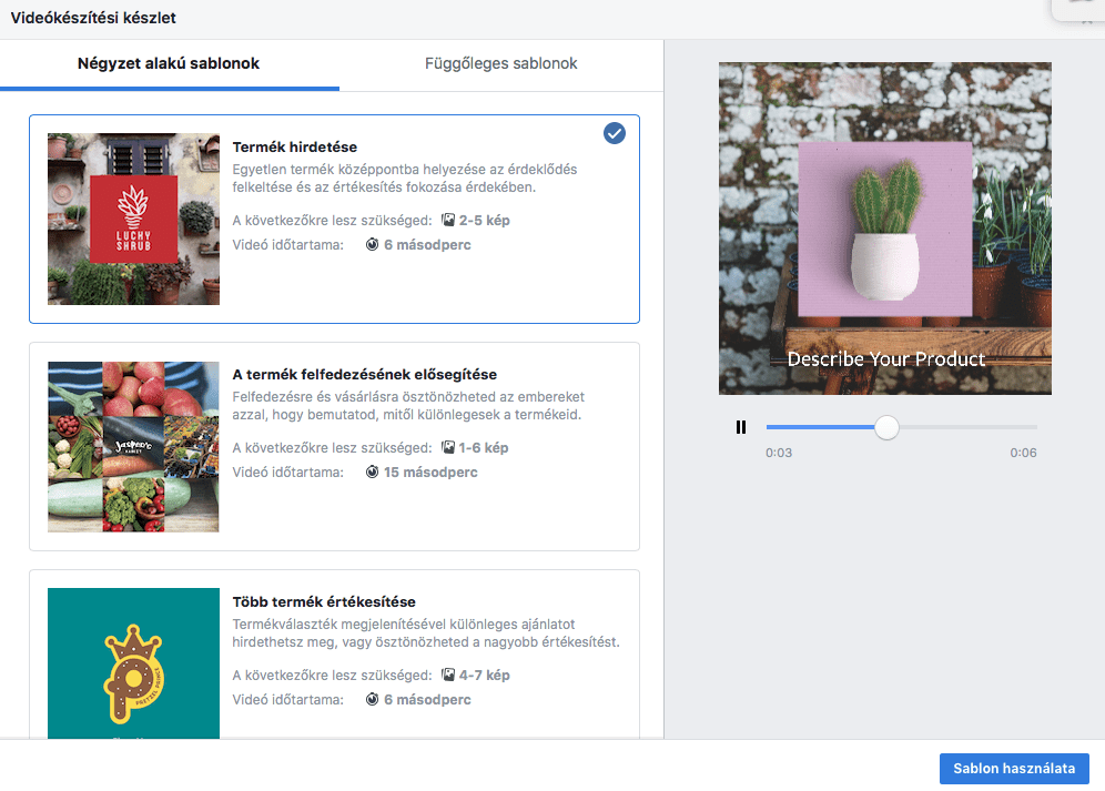 Videó készítéshez sablonokkal segít a Facebook