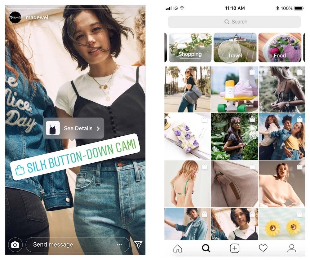 Bal oldalon: vásárlás címke Instagram story-ban. Jobb oldalon: Vásárlási posztok az Explorerben.