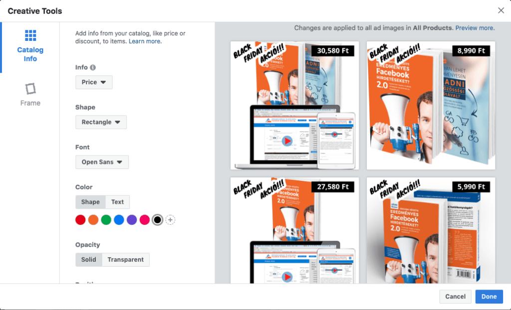 A termékkatalógus hirdetéseknél egyedi keretet, és a katalógus információival ellátott matricát is használhatunk arra, hogy a képeinket testreszabjuk.